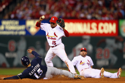 Brewers v Cardinals - G. Five, St Louis, MO - Oct. 14: Jerry Hairston Jr. and Rafael Furcal