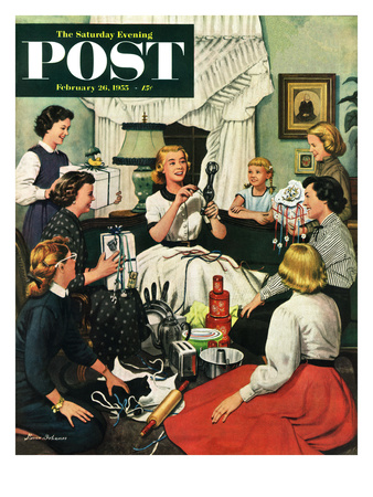 """Bridal Shower"" Saturday Evening Post Cover, February 26, 1955"
