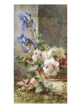 A Still Life with Irises and Roses in a Basket