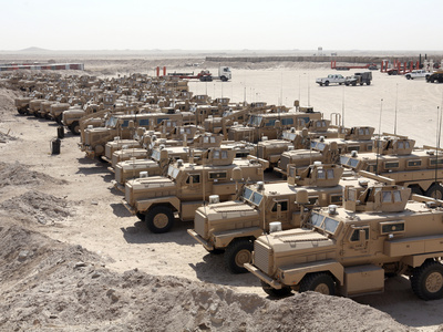 Mine Resistant Ambush Protected Vehicles at Camp Taqaddum, Iraq