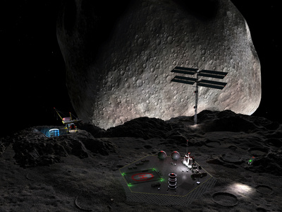 Artist's Concept of a Mining Settlement on the Double Asteroid 90 Antiope