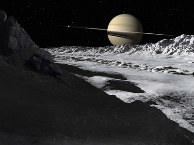 Saturn's Moon, Tethys, Is Split by an Enormous Valley Called Ithaca Chasma