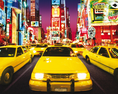Times Square - Yellow Cabs Mini Poster