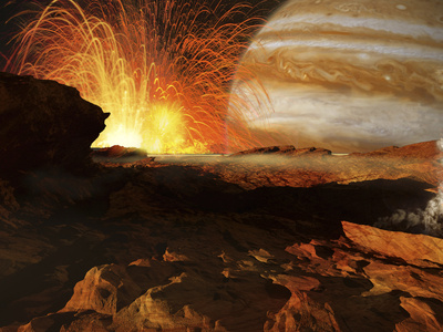 A Scene on Jupiter&#39;s Moon, Io, the Most Volcanic Body in the Solar System