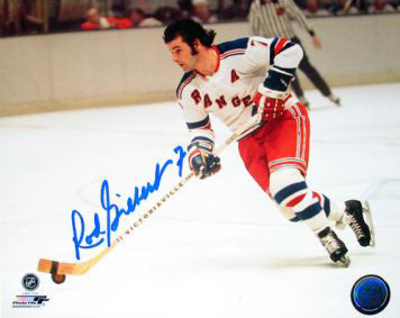 Rod Gilbert Autographed New York Rangers White Jersey Horizontal Photograph