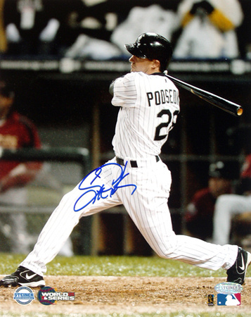 Scott Podsednik Autographed 2005 World Series Game Two Game-Winning HR Photograph (Side View)