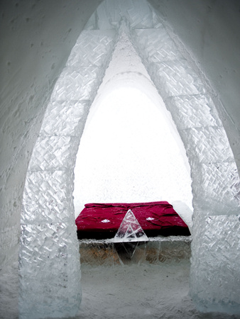 A Bedroom of the Ice Hotel in the Lainio Snow Village