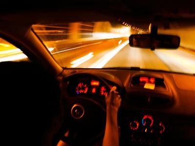 Nighttime Driving on a Roadway Near Monaco