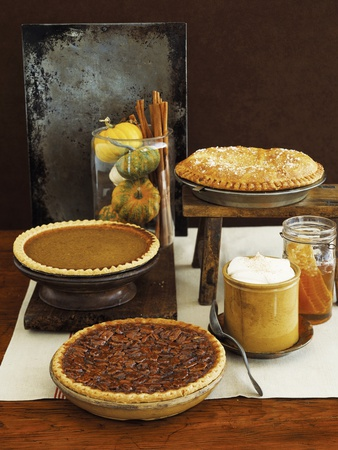 Autumn Pies: Apple/Pear, Pumpkin, and Pecan with Honey and Whipped Cream
