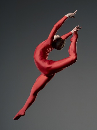 Ballet Dancer in Red Leotard