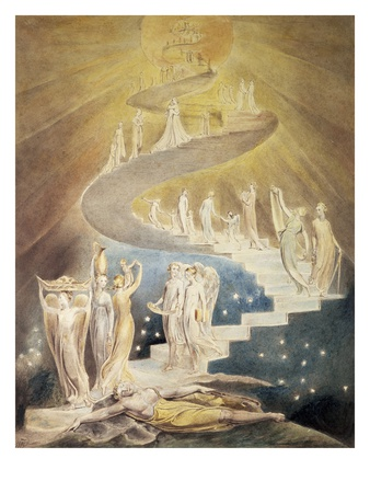 painting with angel, William blake