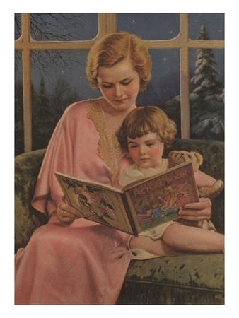 Illustration of Mother and Daughter Reading