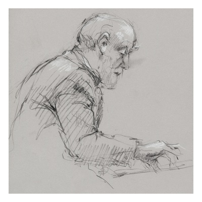 Charcoal and pastel profile drawing of an older man in suit playing piano