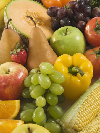 Close up of Fresh Fruits and Vegetables