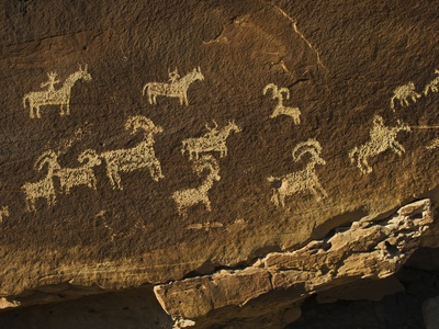 Petroglyph of Wolf Ranch in Arches National Park, Utah