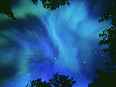 Northern Lights Or Aurora Borealis, Tilton Lake, Sudbury, Ontario, Canada.