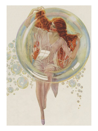 Beautiful redhead in bubble Posters