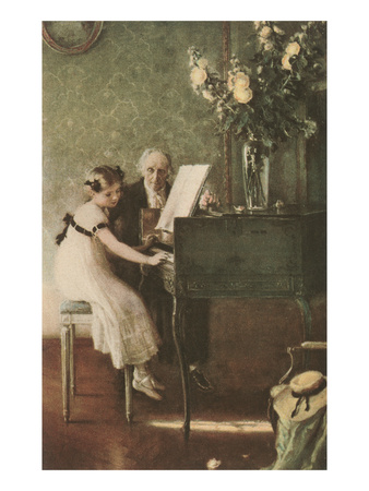 oil painting; old man in suit stands to left of girl seated at square piano; room has green damask wallpaper and wood floors, vase of peonies on piano