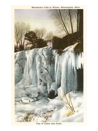 Winter, Minnehaha Falls, Minneapolis, Minnesota
