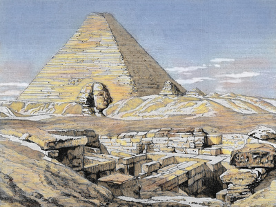 Pyramids and Sphinx, Egypt. Colored Engraving, 1879