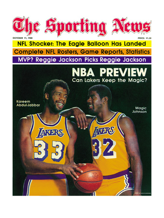 Los Angeles Lakers Magic Johnson and Kareem Abdul-Jabbar - October 11, 1980