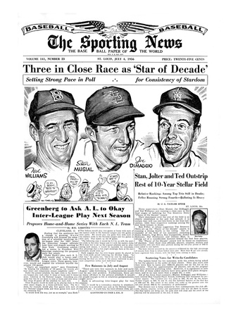 Ted Williams, Stan Musial and Joe DiMaggio - July 4, 1956