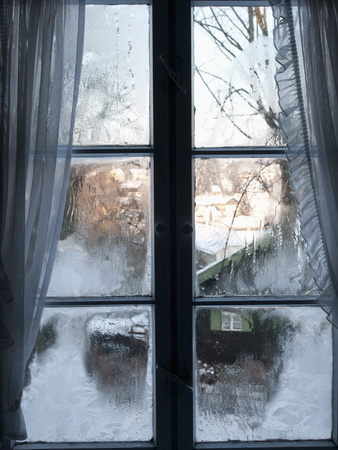 View of Bad Tolz Spa Town Covered By Snow at Sunrise From Window, Bavaria, Germany, Europe