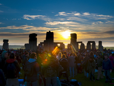 Sunrise at Summer Solstice Celebrations, Stonehenge, Wiltshire, England, Uk