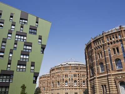 Green Residential Apartments and Converted Gasometers, Gasometer City, Simmering, Vienna, Austria