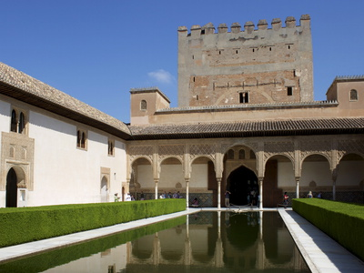 Patio De Los Arrayanes and Comares Tower, Alhambra Palace, Granada, Andalucia, Spain