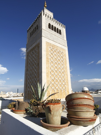 Minaret of the Great Mosque (Jamaa El Zitouna), Medina, UNESCO World Heritage Site, Tunis, Tunisia