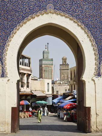 City Gate of Bab Boujeloud (Blue Gate), Medina, Fez (Fes), Morocco, North Africa, Africa