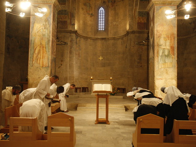 Vespers at Abu Gosh Benedictine Monastery, Israel, Middle East