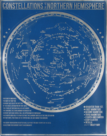 Constellations of the Northern Hemisphere (Blue) - Serigraph