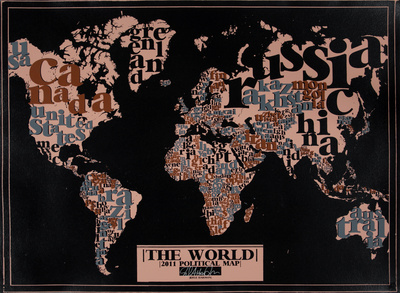 The World, 2011 Political Map (Black) Posters