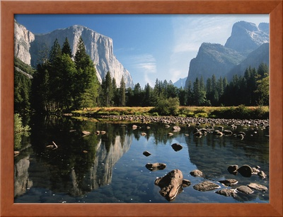 Valley View of El Capitan, Cathedral Rock, Merced River in Yosemite National Park, California, USA Posters