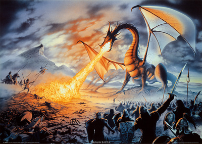 Fire-Breathing Dragon Battle (Fantasy) Art Print Poster