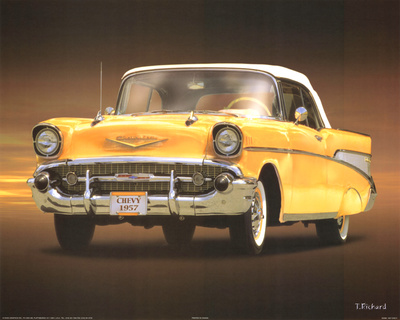 Buy 1957 Chevy Yellow Art Poster Print at AllPosters.com