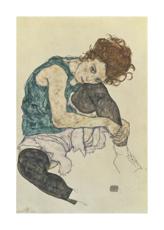 Seated Woman With Bent Knee - Premium Giclee Print