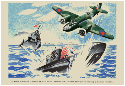 British Blenheim Bomber of Coastal Command Aids a British Destroyer WWII War Propaganda Poster