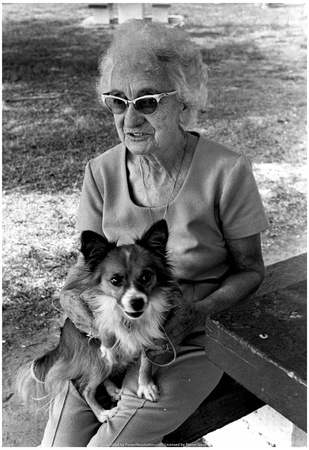 Old Woman With Dog 1981 Archival Photo Poster