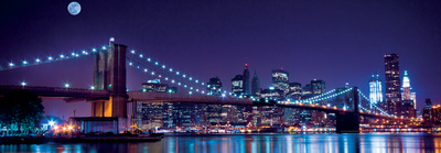 Brooklyn Bridge and Manhattan Skyline with a Full Moon Overhead-New York Art Print
