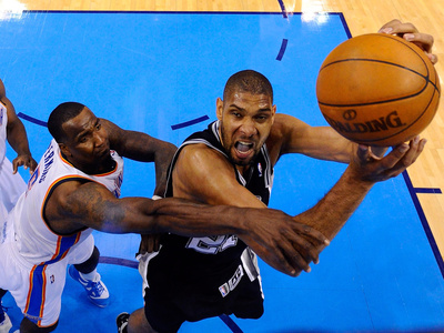 Oklahoma City, OK - June 2: Tim Duncan and Kendrick Perkins