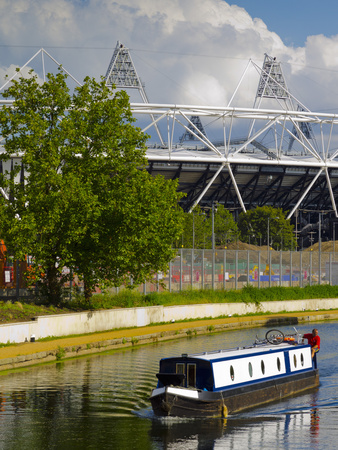 London 2012 Olympic Stadium With River Lea And Canal Boat