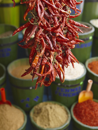 Chillies in Spice Market, Istanbul, Turkey, Europe