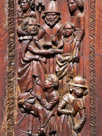 Carved Wooden Doors Dating from 1530, Cathedral of St. Leonce of Frejus, Var, Provence, Cote D