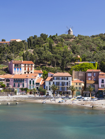 A View of the Beach at Collioure in Languedoc-Roussilon, France, Europe.