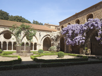 A Courtyard in Fontfroide Abbey, Languedoc-Roussillon, France, Europe
