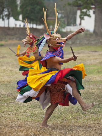Dancers Perform Shazam Tam, Dance of the Four Stags Outside Punakha Dzong, Dance Commemorates the S