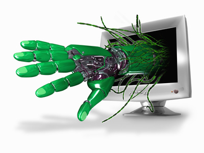 A Conceptual 3D Illustration of a Robot Hand and Wires Emerging from a Computer Screen